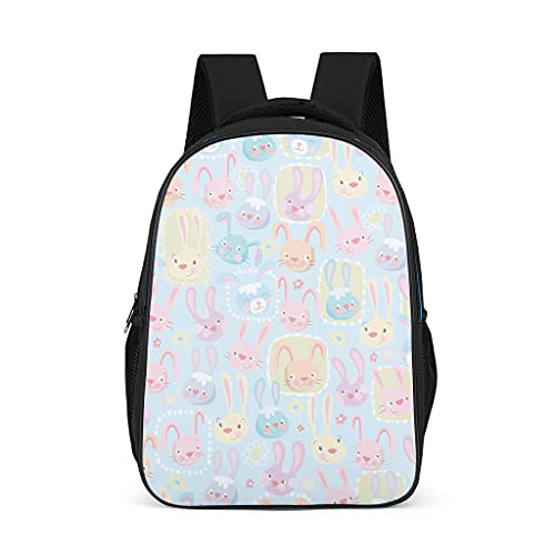 Mochila de dibujos animados lindo conejos colorido diseño Bookbag elegante Daypack Bolsa de trabajo para preescolar primaria, color, talla Talla única