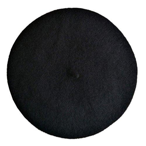 JOYHY Niños Sólido Color Estilo Francés Boina Gorrita Sombrero Negro