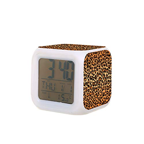 Digital Alarm Clock for Kids Bedroom Heavy Sleepers Best Leopard Print Travel Battery Alarm Clock Night Light Portable Silent Mini Cube Thermometer Clocks Cool Small