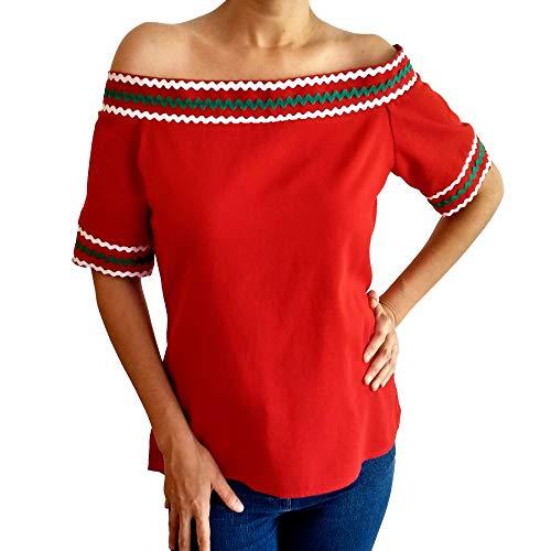 Mexikanische Flagge färbt Bluse des traditionellen rohen groben Baumwoll-Manta-Gewebes kundenspezifisches handgemachtes maßgeschneidertes Plus Size