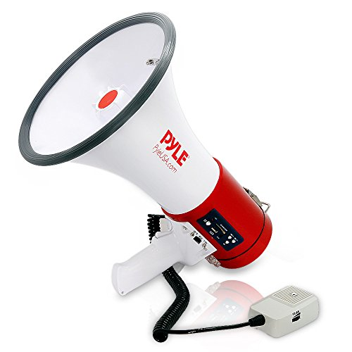 Pyle Megaphone 50-Watt Siren Bullhorn - Bullhorn Speaker w/ Detachable Microphone, Portable Lightweight Strap & Rechargeable Battery - Professional Outdoor Voice for Police & Cheerleading - PMP57LIA , White , Large