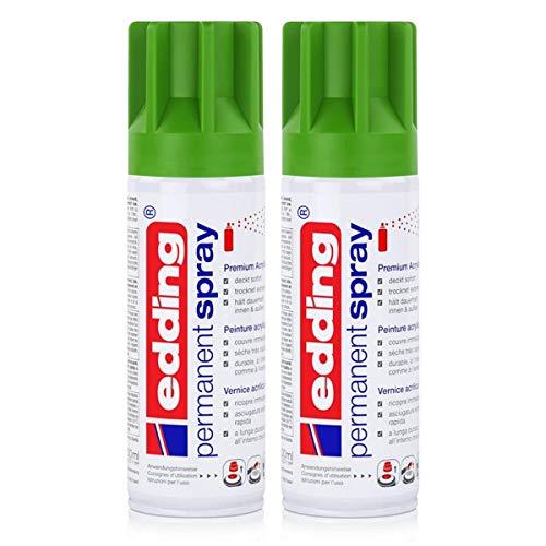 edding Permanent Spray Premium-Acryllack gelbgrün 200ml RAL 6018 – seidenmatt – Sprühlack deckt sofort, trocknet extrem schnell und hält dauerhaft innen & außen, für Glas, Metall uvm. (2er Pack)