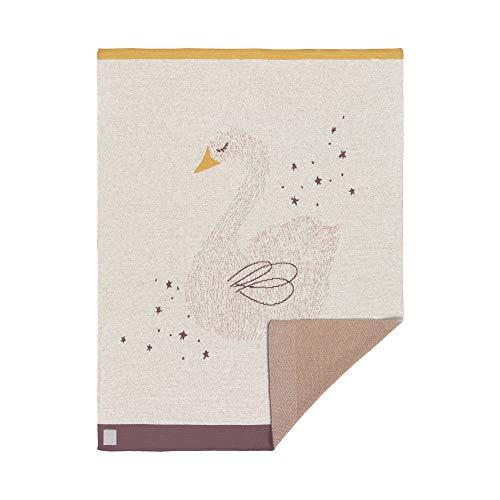 LÄSSIG Baby Krabbeldecke Strickdecke Spieldecke Schmusedecke Kuscheldecke GOTS zertifiziert weich/Baby Blanket Little Water Swan