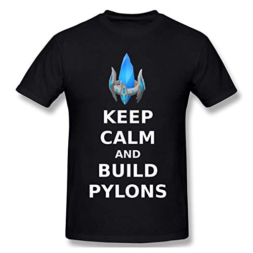 fshsh Camisetas y Tops Hombre Polos y Camisas Funny T Shirts for Men Casual Cotton Keep Calm and Build Pylons T-Shirt