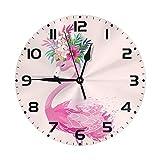 Lewiuzr Reloj de Pared Redondo Reloj de Escritorio Moderno Reloj Colgante clásico Que no Hace tictac para la Oficina de la Escuela en casa,Flamenco Lindo