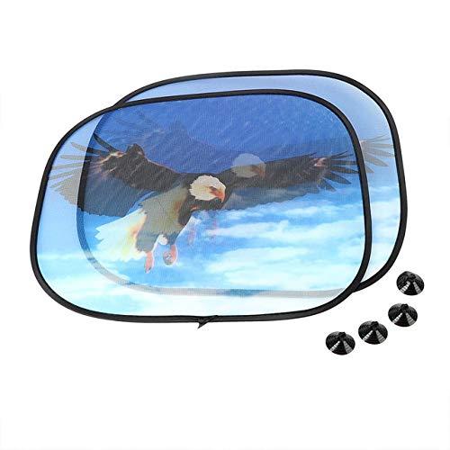 AWQC Parasol de Coche Pantalla de la Ventana Lateral 2pcs sombrillas con succión del Parabrisas del Coche Cortina Cubierta Parabrisas de la Cortina del Coche-Estilo Universal (Color : Eagle)