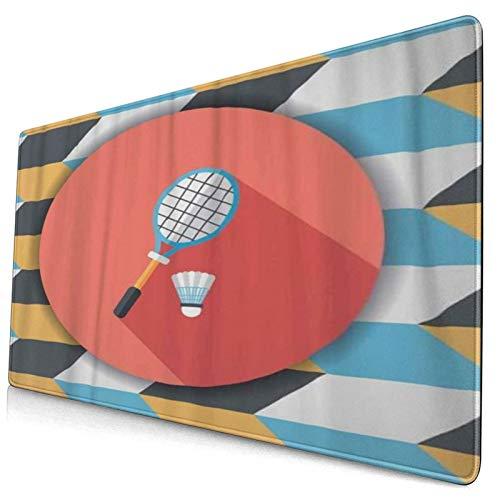 WINCAN Alfombrilla Raton,Icono Plano de Raqueta y Bola de bádminton con Sombra,Alfombrilla Gaming Alfombrilla para computadora con Base de Goma Antideslizante,750×400×3mm