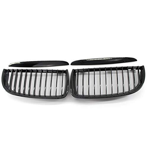 Rockyin 1 par parachoques delantero de la parrilla tapa de la parrilla rejillas for BMW E90 05-08 Negro Brillante