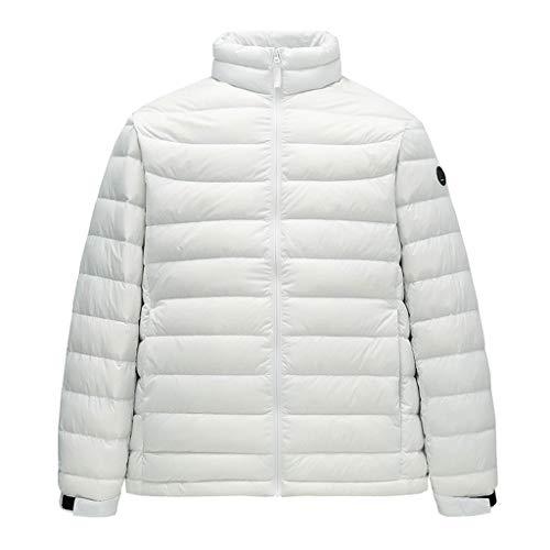 Chaqueta de plumón cálida para hombre, abrigos de invierno bonitos y casuales, cuello alto, cálido para adultos y estudiantes grueso (color blanco, talla: XXL)