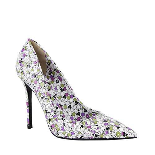 Bottega Veneta Women's Green/Purple Floral Woven Leather Heels 430541 8404 (38.5 EU/US 8.5)
