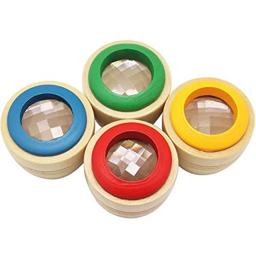 Holz Kaleidoskop, 4 Stück Tragbares Mini-Holz Kaleidoskop, Kaleidoskop mit Bienenaugen Effekt, Kinder Baby Lernpuzzle Spielzeug, optische Lehrmittel für Kinder, Kinder