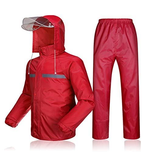 Tuuertge impermeable Impermeable a prueba de viento ropa impermeable y transpirable lluvia chaqueta y pantalón con capucha lluvia Traje con capucha for bicicletas Moto Campo de camping al aire libre V