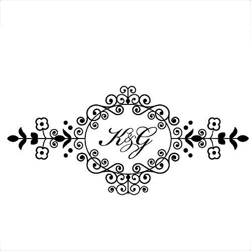 Abkbcw Etiqueta engomada del Monograma de la Boda Iniciales del Novio y la Novia Logotipo de la Boda Crear decoración del Piso Etiqueta de la Pared Calcomanía de PVC 124 cm x 56 cm