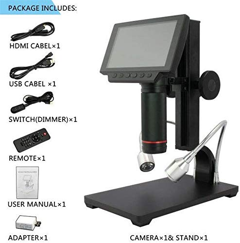 1080p Full HD-Videomikroskop Digital elektronisches Mikroskop USB-5-Zoll-Industriekamera Lupe Fernbedienung Lupe Industrial Tools TYTTUU