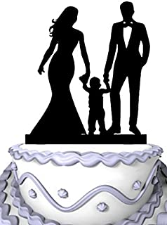 Meijiafei Wedding Cake Topper - Bride and Groom with Children Silhouette Family Anniversary Cake Topper