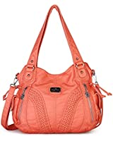Angelkiss Women Top Handle Satchel Handbags Shoulder Bag Messenger Tote Washed Leather Purses Bag (Coral) …
