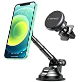 VANMASS Magnetic Phone Car Mount with 6 Powerful Rare-earth Magnets, Durable Aluminium Alloy Structure, Super Sticky Suction Cup, Cell Phone Holder for Car Dashboard Windshield Air Vent, for All Phone