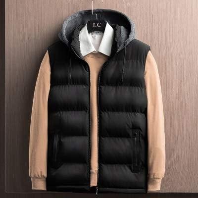 LYLY Vest Women Spring Winter Sleeveless Youth Jacket for Men Fashion Warm Hooded Male Cotton Work Waistcoat Gilet Homme Vest Vest Warm (Color : Black, Size : 4XL)