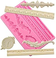 DIYバロックスクロール救済ケーキボーダーシリコーン金型、欧州のフレームケーキデコレーションツール、救済フラワーレースマット (Color : Relief Style 03)