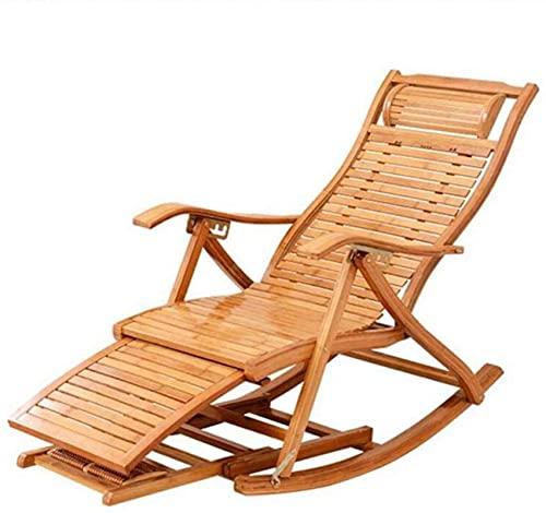 Opvouwbare stoel Bamboe schommelstoel Verstelbare lounge stoel met uitgebreide voetsteun en voetmassagebord voor buitenruit ligstoelen