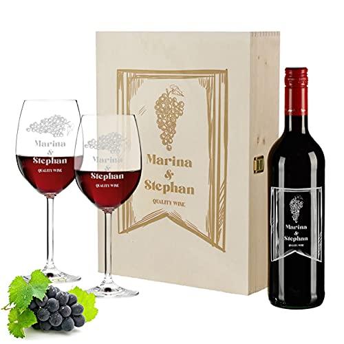 polar-effekt Wein Geschenkset 4-TLG | 2X personalisierte Weingläser, 700 ml Weinflasche und Holzkiste | Pierre Laforest | Hochzeit | Mann, Frau | Motiv Quality Wine
