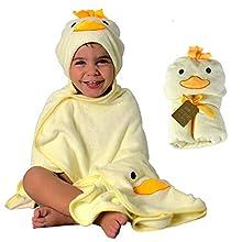 Toalla HECKBO® con Capucha de Pollito en 3D + toallita Gratis   0-6 años   Cierre Mediante 2 Botones de Clip   Dimensiones: 90 x 100 cm   Toalla de baño para niños y niñas con Capucha