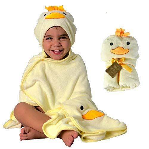 Toalla HECKBO con capucha de pollito en 3D + toallita GRATIS | 0-6 años | Cierre mediante 2 botones de clip | 100 % bambú | Dimensiones: 90 x 100 cm | Toalla de baño para niños y niñas con capucha
