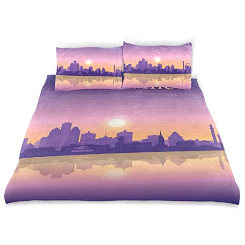 SINOVAL Decor Duvet Cover Set, City Silhouette Purple with Ombre Effect Sunset in Louisville A Decorative 3 Pcs Bedding Set with Pillowcases, King