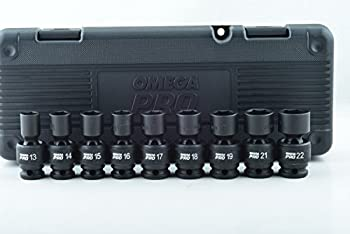 9-Piece Omega Pro 1/2 Inch Drive 6 Point Metric Swivel Impact Socket Set