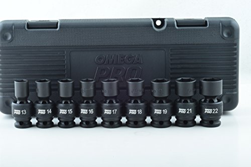 Omega Pro 83021 9-Piece 1/2' Drive 6 Point Metric Swivel Impact Socket Set - Universal CR-MO Steel with Heavy Duty Storage Case