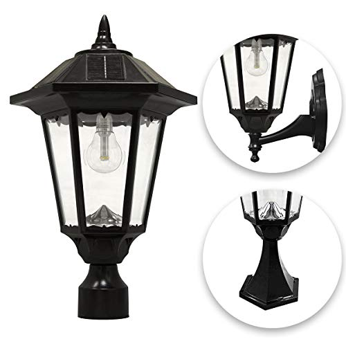GAMA SONIC Windsor Bulb Solar Light, Outdoor, LED, Wall, Pier, and 3