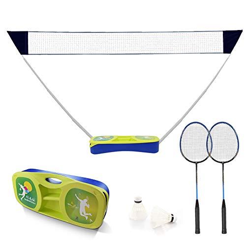 Sibosen Portable Badminton Set w/Freestanding Base, Folding Popup Volleyball Badminton Net with Rackets Shuttlecocks Carry Case for Adults Kids Outdoor Backyard Games