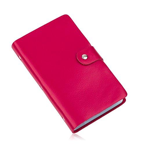 Tarjetero de piel tipo libro Cool-Shop, para tarjetas de identificación, de crédito, de visita; capacidad para 90tarjetas, color rosa rojo