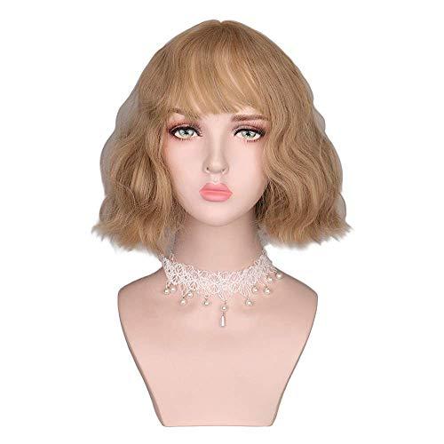 pruiken Pruik vrouwelijk kort krullend haar gemengd gouden roos netto hoge temperatuur zijde chemische vezel kap