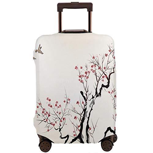 Travel koffer beschermer, klassieke Aziatische schilderij stijl kunstwerk van bloemen takken bloesem en vliegen vogels patroon, koffer cover wasbare bagage cover