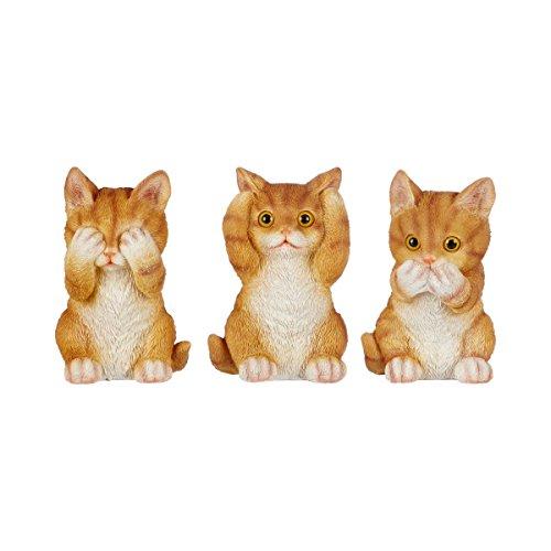 Unbekannt TRI Kätzchen-Trio, 3er-Set,ich höre Sehe sage Nichts, Affenfigur, Katzendeko, lustige Deko, Dekofiguren, Kunststein, 7,5 x 7,5 x 12 cm