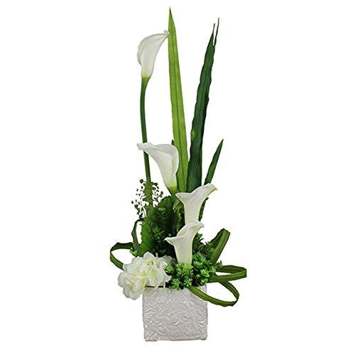 WENZHE Fleurs Artificielles Simulation Plantes Faux Fleurs Flore Calla Décoration Pot De Fleurs En Céramique Ensemble Table À Manger Table Basse Salon Ornement Moderne Simple, 50 * 30 Cm