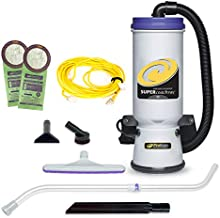 ProTeam Backpack Vacuums, Super CoachVac Commercial Backpack Vacuum Cleaner with HEPA Media Filtration and Telescoping Wand Tool Kit, 10 Quart, Corded