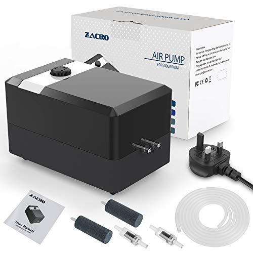 Zacro Aquarium Air Pump - Ultra Silent Oxygen Pump with Dual Outlet...