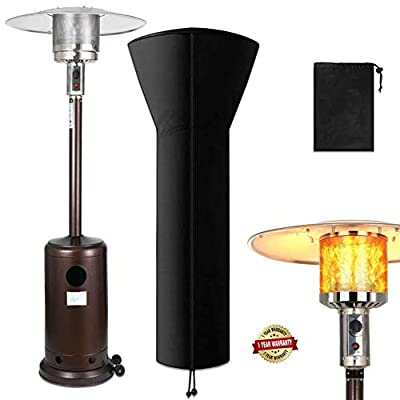 Raoccuy Outdoor Propane Powered Patio Heater with Cover - Modern Commercial Thermal Heaters 48000 BTU Stainless Steel - Floor Tall Standing with Wheels for Garden,Champagne