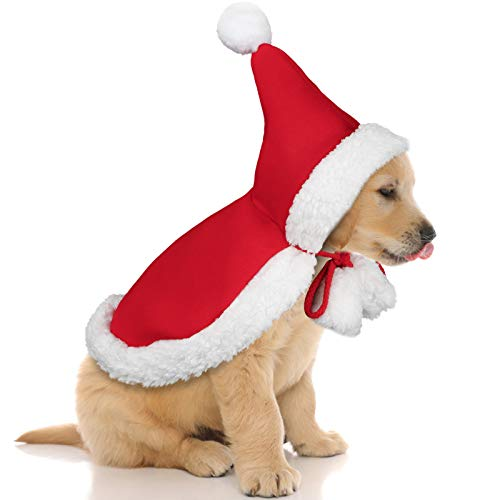 Kaqulec 2020 Newest Pet Christmas Costume Poncho Cape Set Puppy with Hat Santa Claus Cloak for Cats and Dogs Red (Small,1Pack)