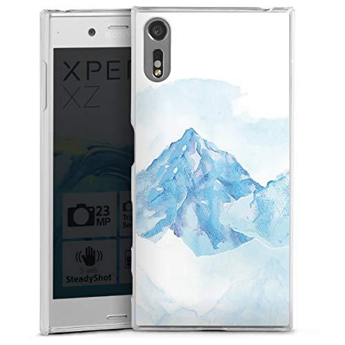 DeinDesign Hard Case kompatibel mit Sony Xperia XZ Schutzhülle transparent Smartphone Backcover Schneewittchen Blau Berg