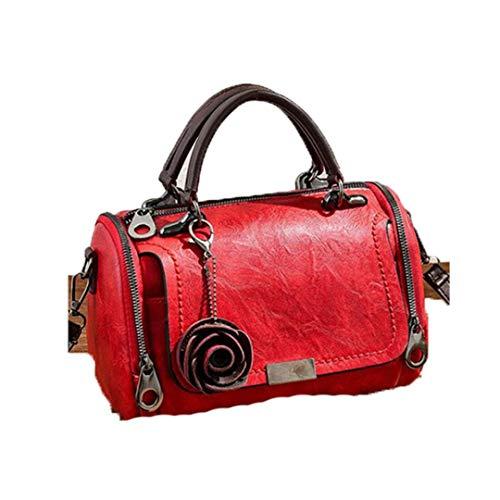 Vrouwen schoudertas met bloemenhangers dode partij portemonnee handtassen-casual messenger schoudertassen, bordeauxrood (wine red) (rood) - 5023652891425