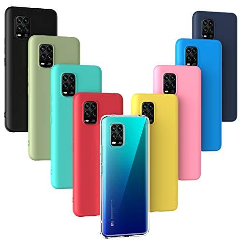 Oududianzi - 9 x Hülle für Xiaomi Mi 10 Lite 5G, [Regenbogen-Serie] Weich Matte Hülle TPU-Silikon Handyhülle [ Transparent + Schwarz + Pink + Dunkelblau + Rot + Minzgrün + Gelb + Grün + Blau ]