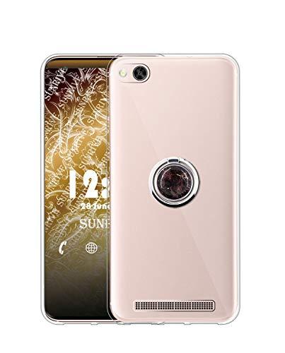 Sunrive Kompatibel mit Xiaomi Mi 4c Hülle Silikon, Transparent Handyhülle 360°drehbarer Ständer Ring Fingerhalter Fingerhalterung Schutzhülle Etui Hülle(Schwarzer Marmor) MEHRWEG