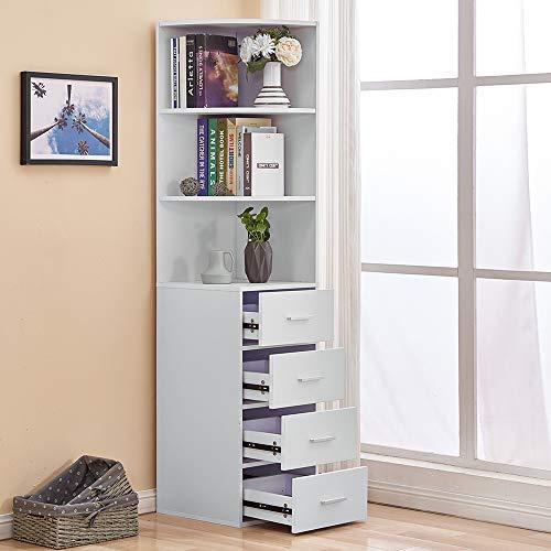 Utility 3-Tier Shelves & 4 Drawers Corner Cabinet White for Living Room/Bedroom, Bathroom Corner Storage Cabinet, Cupboard Sideboard for Living Room, Tall & Slim Corner Shelving Unit Cabinet