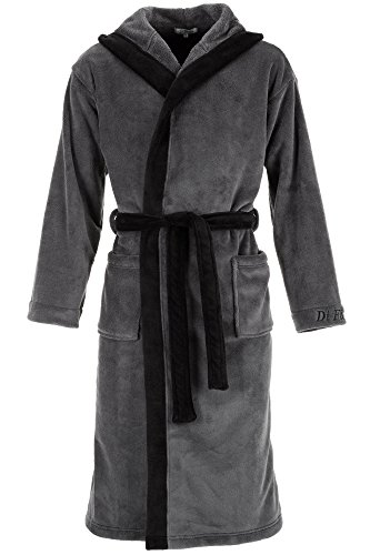 Di Ficchiano  DF-15 Herren Bademantel, L, Grey Black