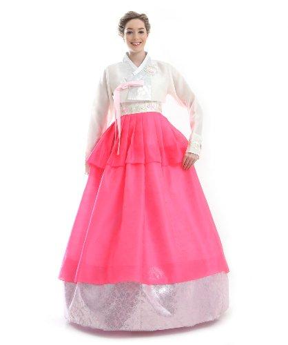 Antique Alive Hanbok Coreen Traditionnel Rose Blanc Longue Robe Longue de Soiree Imitation Soie sur Mesure