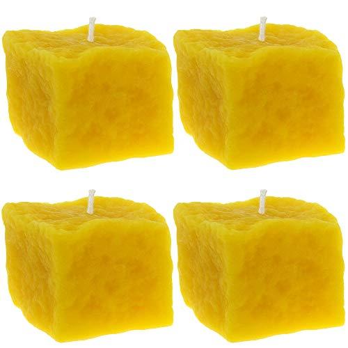 Toms Bienen 4 Kerzen in Form eines Steines aus 100prozent reinem Bienenwachs