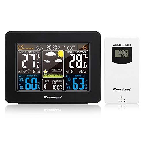 PTICA Excelvan LCD Estación meteorológica inalámbrica Digital con Detector de Interior inalámbrico Exterior RCC con Sensor inalámbrico Reloj Despertador Pronóstico